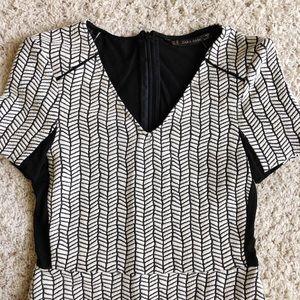 Zara | Black & White V Neck Dress